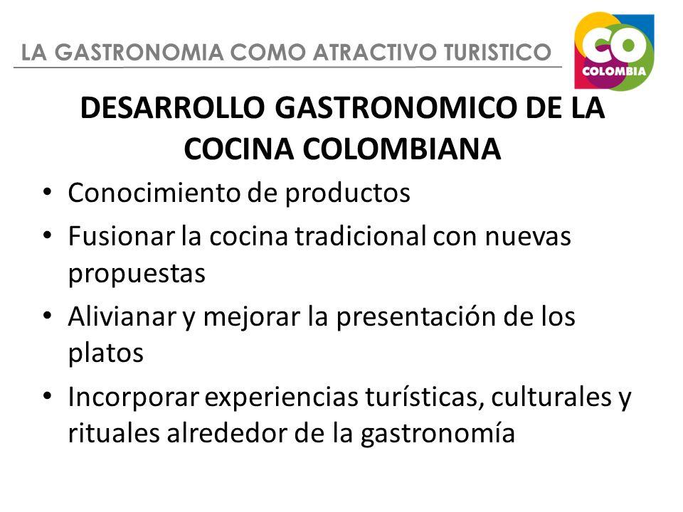 LA GASTRONOMIA COMO ATRACTIVO TURISTICO DESARROLLO GASTRONOMICO DE LA COCINA COLOMBIANA Conocimiento de productos Fusionar la cocina tradicional con n