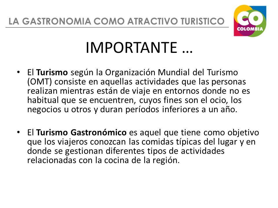 LA GASTRONOMIA COMO ATRACTIVO TURISTICO IMPORTANTE … El Turismo según la Organización Mundial del Turismo (OMT) consiste en aquellas actividades que l