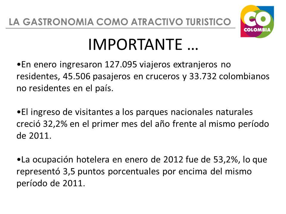 LA GASTRONOMIA COMO ATRACTIVO TURISTICO En enero ingresaron 127.095 viajeros extranjeros no residentes, 45.506 pasajeros en cruceros y 33.732 colombia