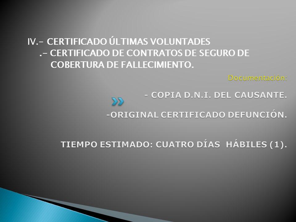IV.- CERTIFICADO ÚLTIMAS VOLUNTADES.- CERTIFICADO DE CONTRATOS DE SEGURO DE COBERTURA DE FALLECIMIENTO.