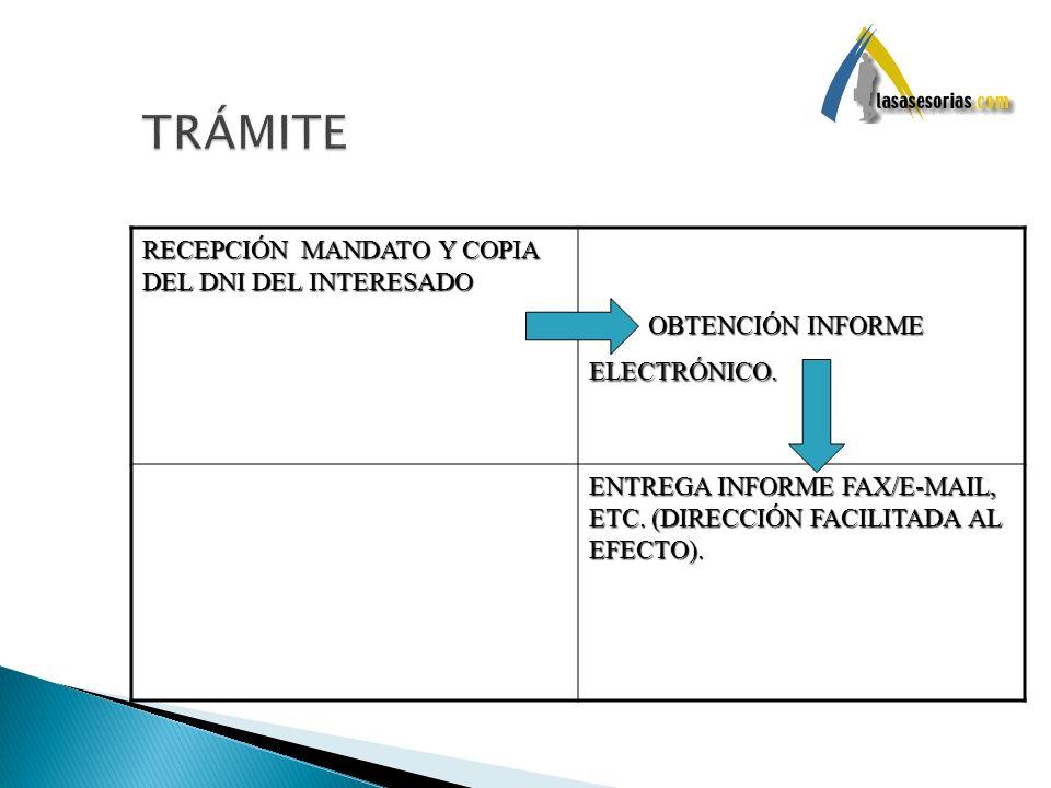 RECEPCIÓN MANDATO Y COPIA DEL DNI DEL INTERESADO OBTENCIÓN INFORME ELECTRÓNICO. OBTENCIÓN INFORME ELECTRÓNICO. ENTREGA INFORME FAX/E-MAIL, ETC. (DIREC