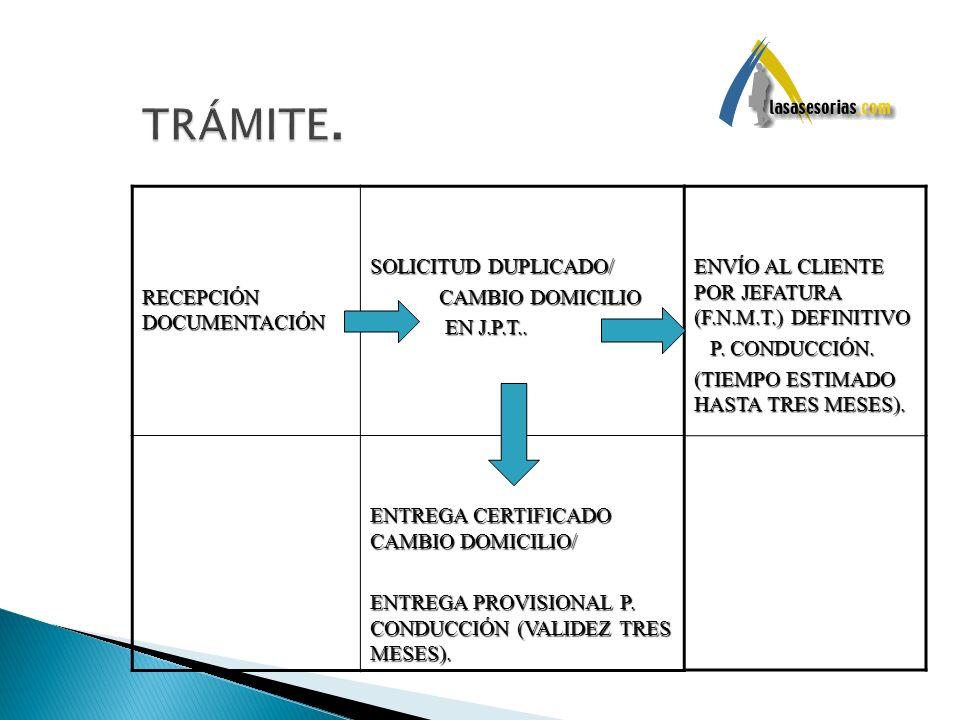 RECEPCIÓN DOCUMENTACIÓN SOLICITUD DUPLICADO/ CAMBIO DOMICILIO CAMBIO DOMICILIO EN J.P.T.. EN J.P.T.. ENTREGA CERTIFICADO CAMBIO DOMICILIO/ ENTREGA PRO