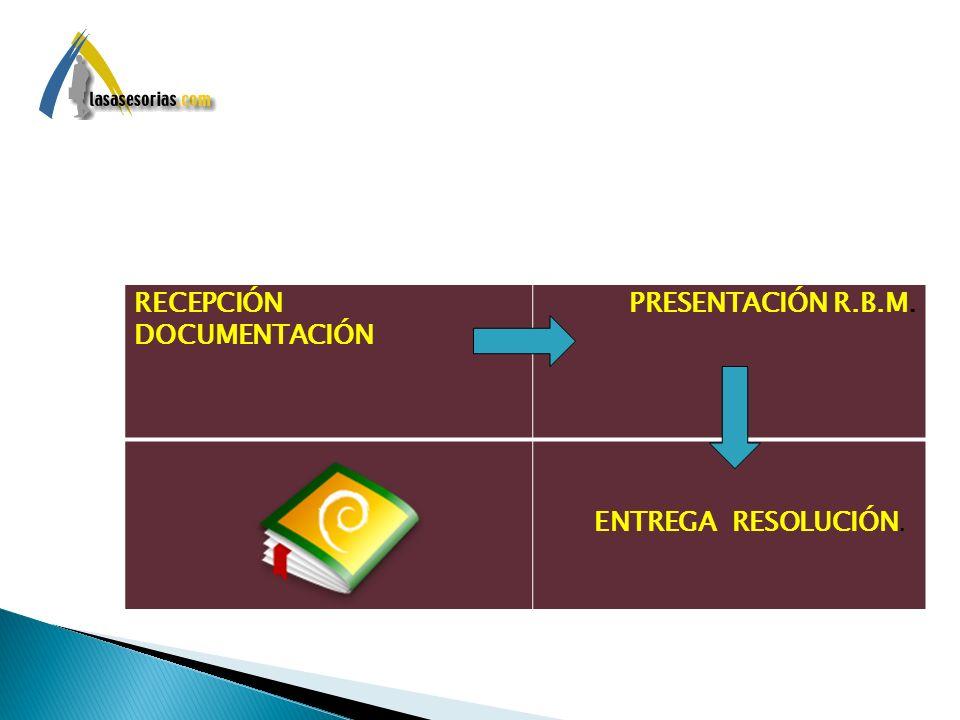 RECEPCIÓN DOCUMENTACIÓN PRESENTACIÓN R.B.M. ENTREGA RESOLUCIÓN.