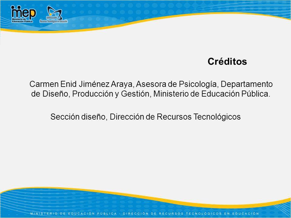 Créditos Carmen Enid Jiménez Araya, Asesora de Psicología, Departamento de Diseño, Producción y Gestión, Ministerio de Educación Pública. Sección dise