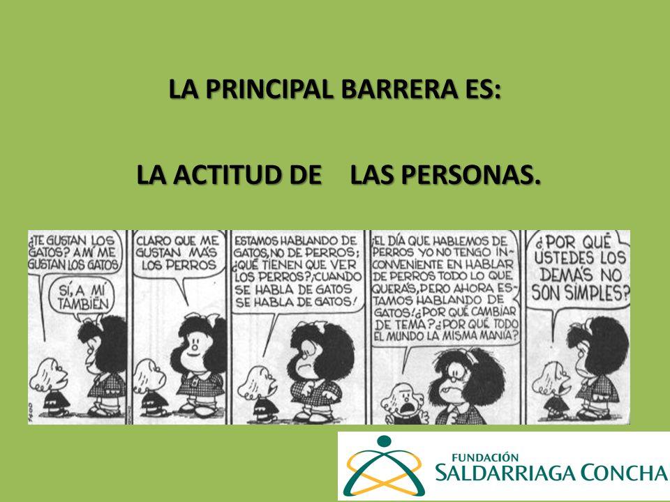 LA PRINCIPAL BARRERA ES: LA ACTITUD DE LAS PERSONAS. LA ACTITUD DE LAS PERSONAS.