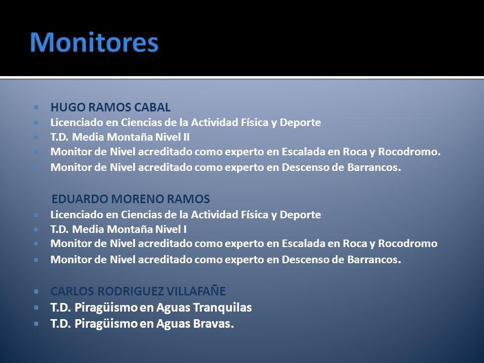 HUGO RAMOS CABAL Licenciado en Ciencias de la Actividad Física y Deporte T.D. Media Montaña Nivel II Monitor de Nivel acreditado como experto en Escal