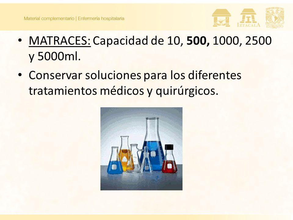 MATRACES: Capacidad de 10, 500, 1000, 2500 y 5000ml. Conservar soluciones para los diferentes tratamientos médicos y quirúrgicos.