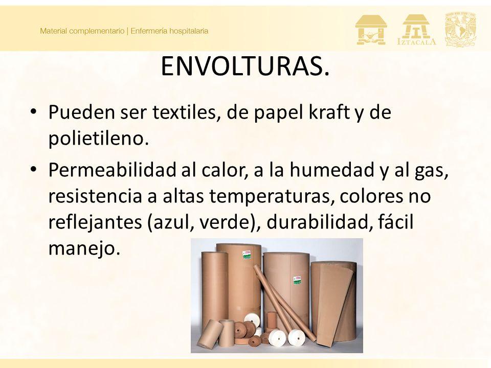 ENVOLTURAS. Pueden ser textiles, de papel kraft y de polietileno. Permeabilidad al calor, a la humedad y al gas, resistencia a altas temperaturas, col