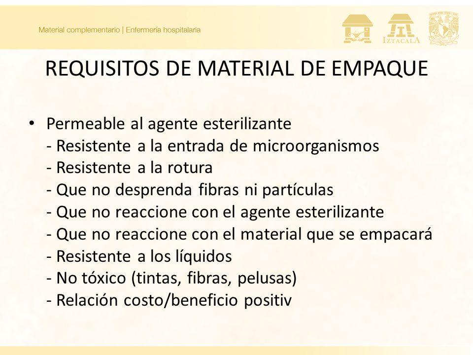 REQUISITOS DE MATERIAL DE EMPAQUE Permeable al agente esterilizante - Resistente a la entrada de microorganismos - Resistente a la rotura - Que no des