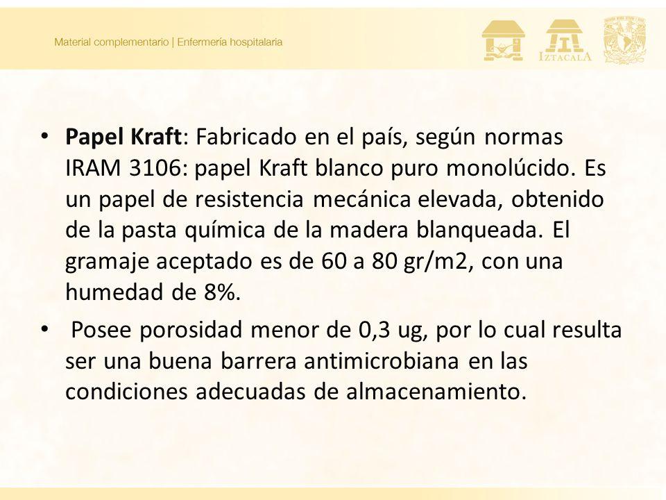 Papel Kraft: Fabricado en el país, según normas IRAM 3106: papel Kraft blanco puro monolúcido. Es un papel de resistencia mecánica elevada, obtenido d