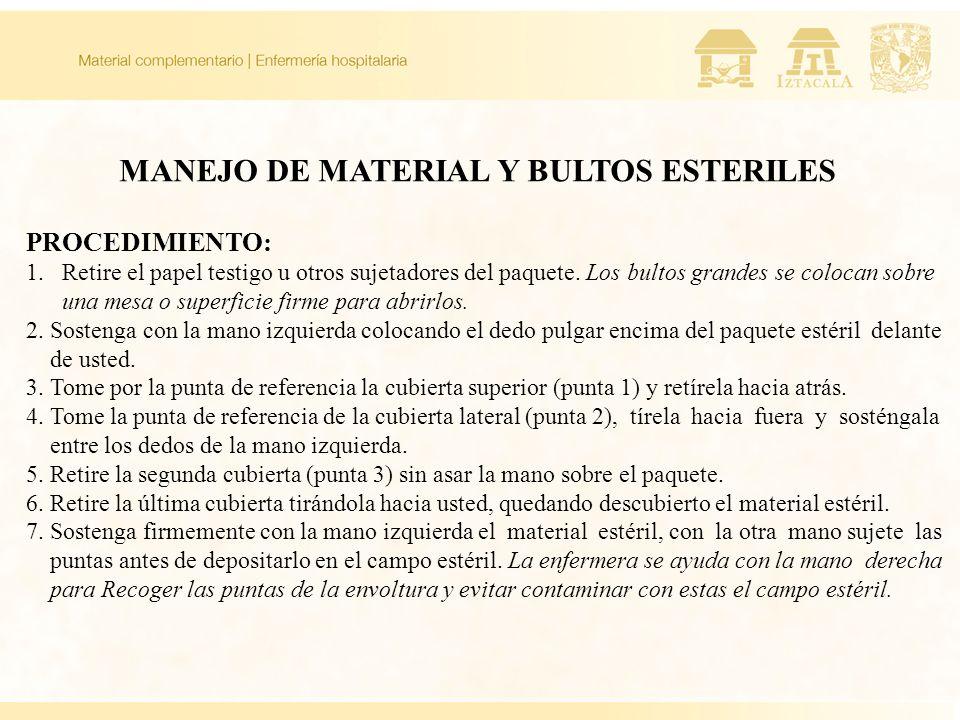 MANEJO DE MATERIAL Y BULTOS ESTERILES PROCEDIMIENTO: 1.Retire el papel testigo u otros sujetadores del paquete. Los bultos grandes se colocan sobre un