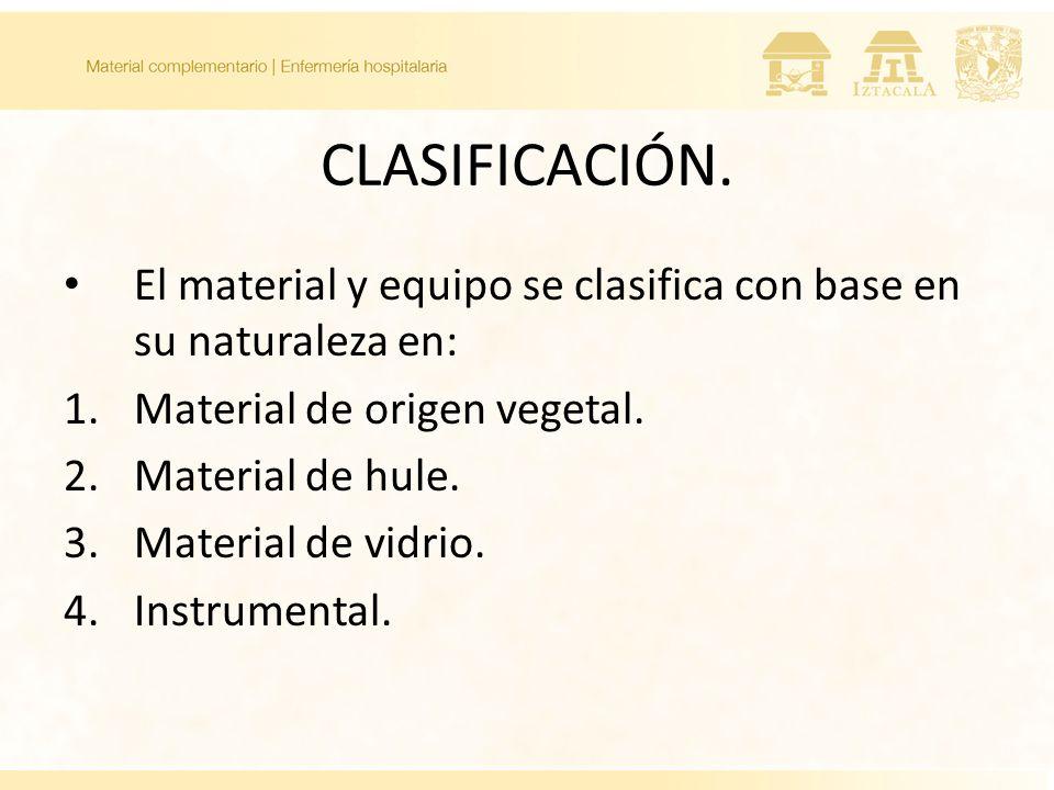 CLASIFICACIÓN. El material y equipo se clasifica con base en su naturaleza en: 1.Material de origen vegetal. 2.Material de hule. 3.Material de vidrio.