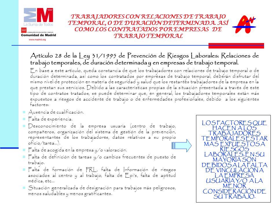 Artículo 28 de la Ley 31/1995 de Prevención de Riesgos Laborales: Relaciones de trabajo temporales, de duración determinada y en empresas de trabajo temporal.
