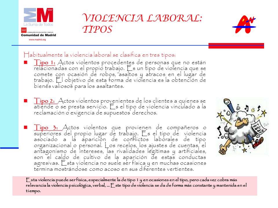 VIOLENCIA LABORAL: TIPOS Habitualmente la violencia laboral se clasifica en tres tipos: Tipo 1: Tipo 1: Actos violentos procedentes de personas que no están relacionadas con el propio trabajo.