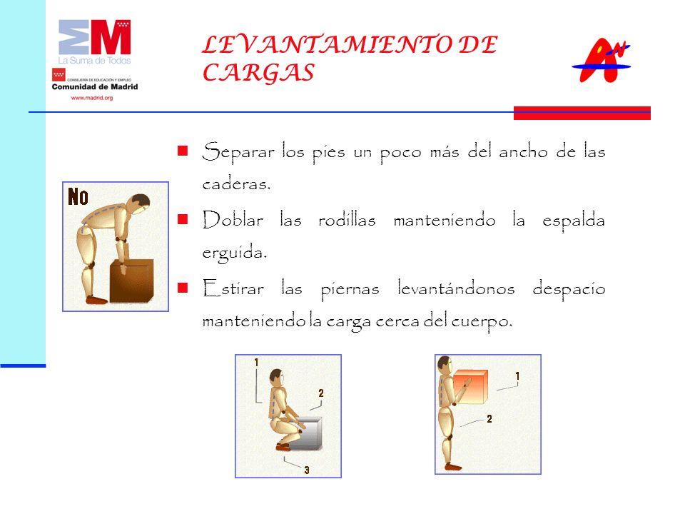 LEVANTAMIENTO DE CARGAS Separar los pies un poco más del ancho de las caderas.