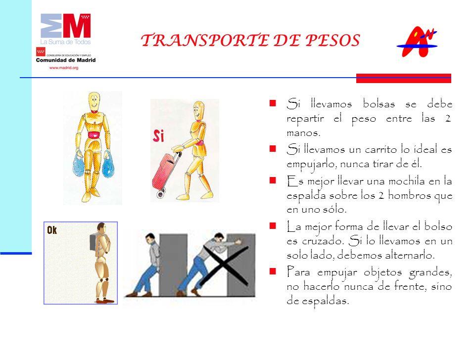 TRANSPORTE DE PESOS Si llevamos bolsas se debe repartir el peso entre las 2 manos.