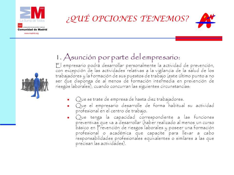 1. Asunción por parte del empresario: El empresario podrá desarrollar personalmente la actividad de prevención, con excepción de las actividades relat