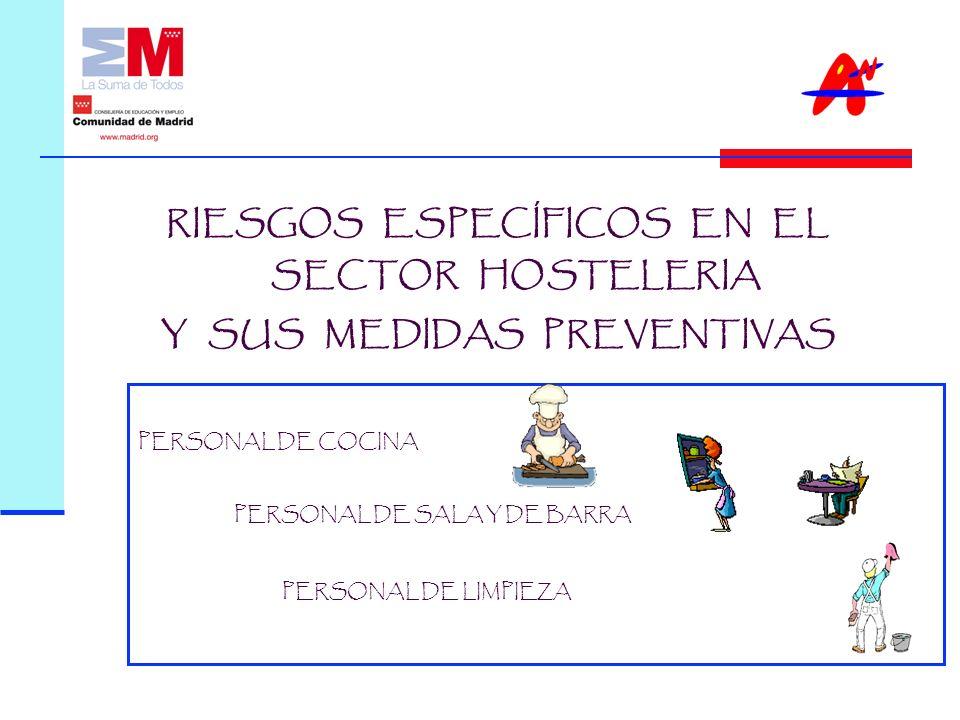 PERSONAL DE COCINA PERSONAL DE SALA Y DE BARRA PERSONAL DE LIMPIEZA RIESGOS ESPECÍFICOS EN EL SECTOR HOSTELERIA Y SUS MEDIDAS PREVENTIVAS