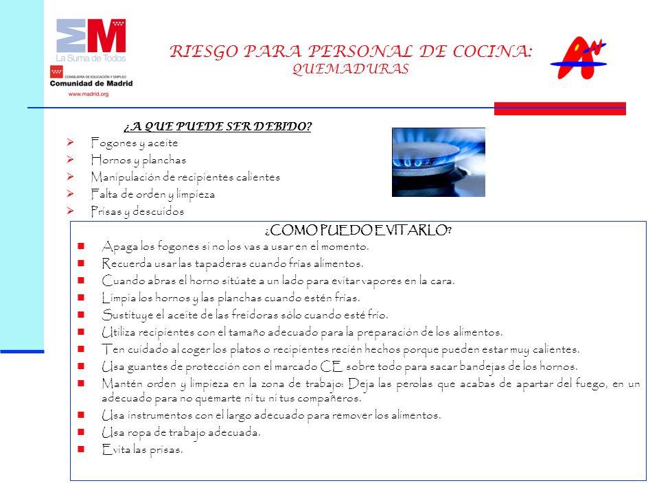 RIESGO PARA PERSONAL DE COCINA: QUEMADURAS ¿A QUE PUEDE SER DEBIDO.
