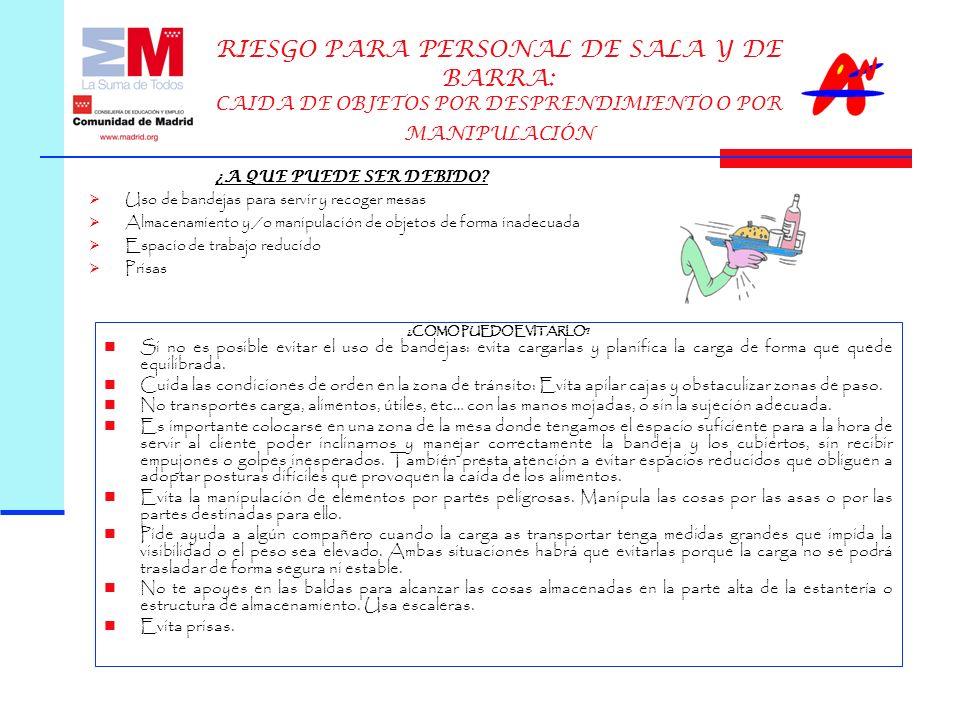 RIESGO PARA PERSONAL DE SALA Y DE BARRA: CAIDA DE OBJETOS POR DESPRENDIMIENTO O POR MANIPULACIÓN ¿COMO PUEDO EVITARLO.
