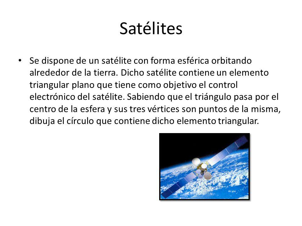 Satélites Se dispone de un satélite con forma esférica orbitando alrededor de la tierra. Dicho satélite contiene un elemento triangular plano que tien