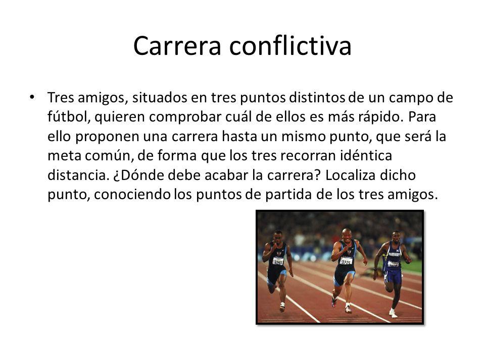 Carrera conflictiva Los tres amigos deben recorrer la misma distancia desde sus puntos de partida hasta la meta, situada en cierto punto O.