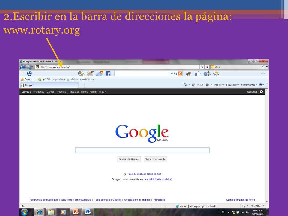 2.Escribir en la barra de direcciones la página: www.rotary.org