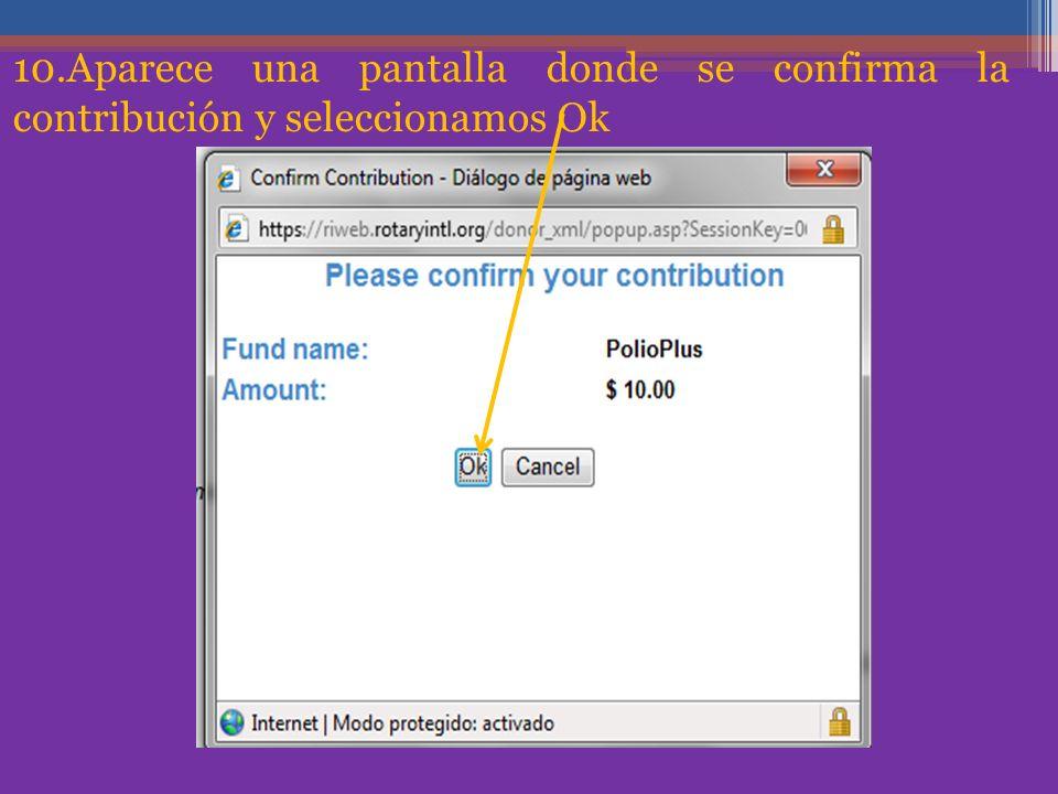 10.Aparece una pantalla donde se confirma la contribución y seleccionamos Ok