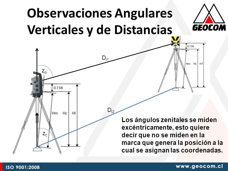 Observaciones Angulares Verticales y de Distancias zozo zczc D i1 D i2 Los ángulos zenitales se miden excéntricamente, esto quiere decir que no se miden en la marca que genera la posición a la cual se asignan las coordenadas.