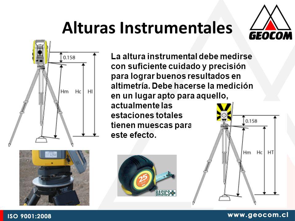 Alturas Instrumentales La altura instrumental debe medirse con suficiente cuidado y precisión para lograr buenos resultados en altimetría.