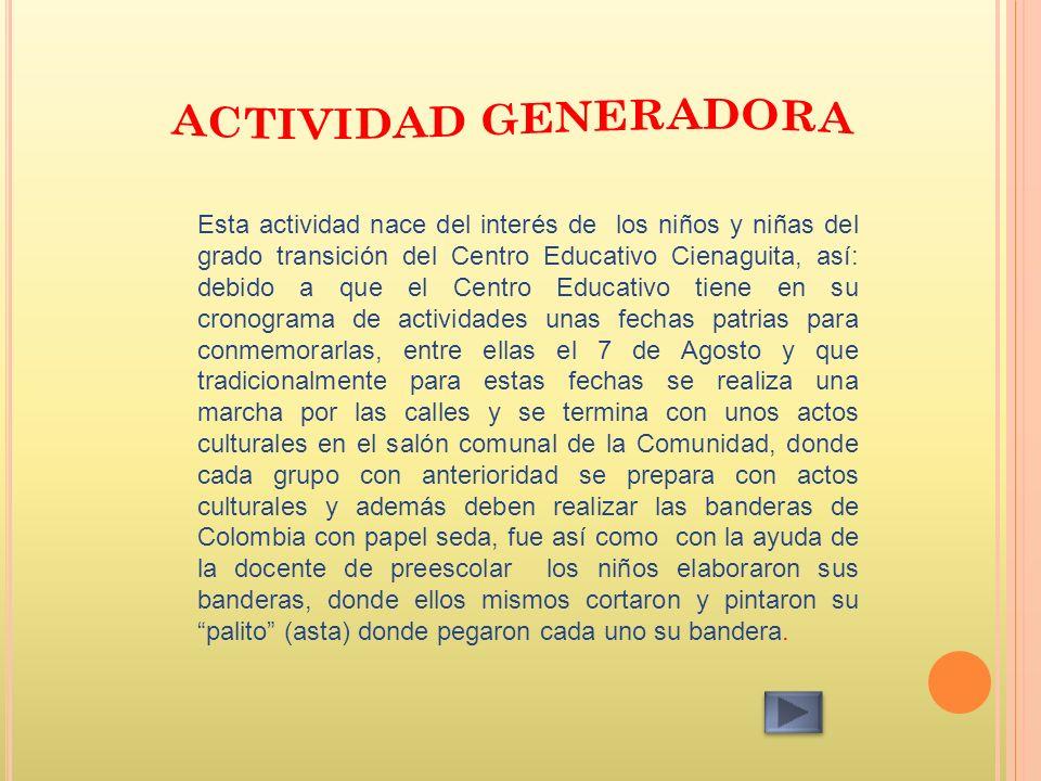 Esta actividad nace del interés de los niños y niñas del grado transición del Centro Educativo Cienaguita, así: debido a que el Centro Educativo tiene