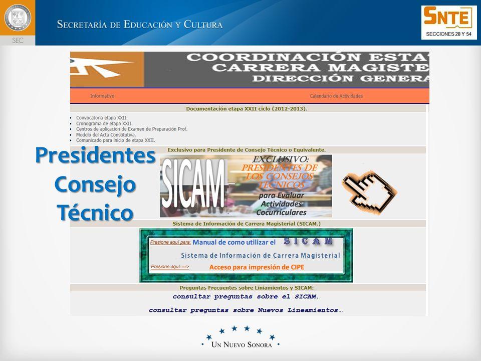 Se desplegará la relación de docentes inscritos en la etapa, con los datos básicos de las cédulas electrónicas generadas: No de folio, RFC, nombre del docente, Clave de centro de trabajo.