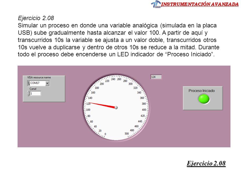 INSTRUMENTACIÓN AVANZADA Ejercicio 2.08 Ejercicio 2.08 Ejercicio 2.08 Simular un proceso en donde una variable analógica (simulada en la placa USB) su