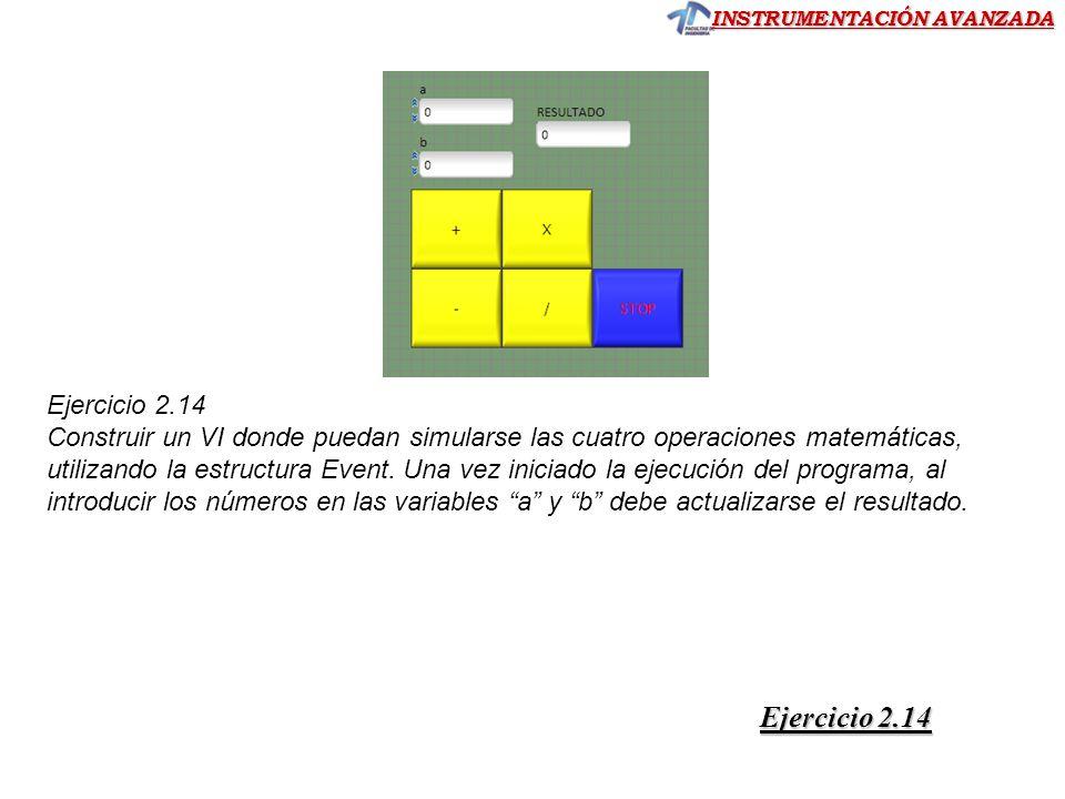 INSTRUMENTACIÓN AVANZADA Ejercicio 2.14 Construir un VI donde puedan simularse las cuatro operaciones matemáticas, utilizando la estructura Event. Una