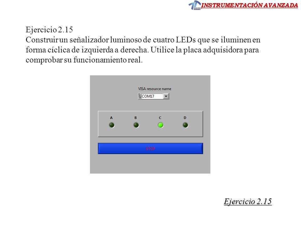 INSTRUMENTACIÓN AVANZADA Ejercicio 2.15 Construir un señalizador luminoso de cuatro LEDs que se iluminen en forma cíclica de izquierda a derecha. Util