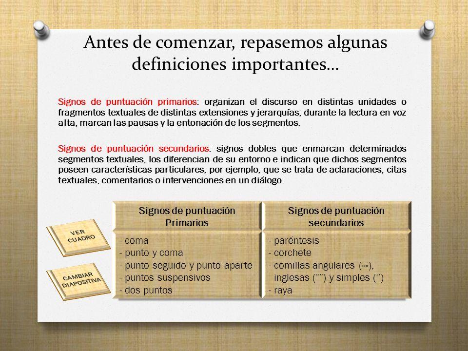 Antes de comenzar, repasemos algunas definiciones importantes… Signos de puntuación primarios: organizan el discurso en distintas unidades o fragmentos textuales de distintas extensiones y jerarquías; durante la lectura en voz alta, marcan las pausas y la entonación de los segmentos.
