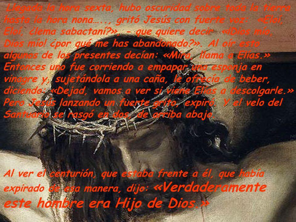 Llegada la hora sexta, hubo oscuridad sobre toda la tierra hasta la hora nona….., gritó Jesús con fuerte voz: «Eloí, Eloí, ¿lema sabactaní?», - que quiere decir «¡Dios mío, Dios mío.