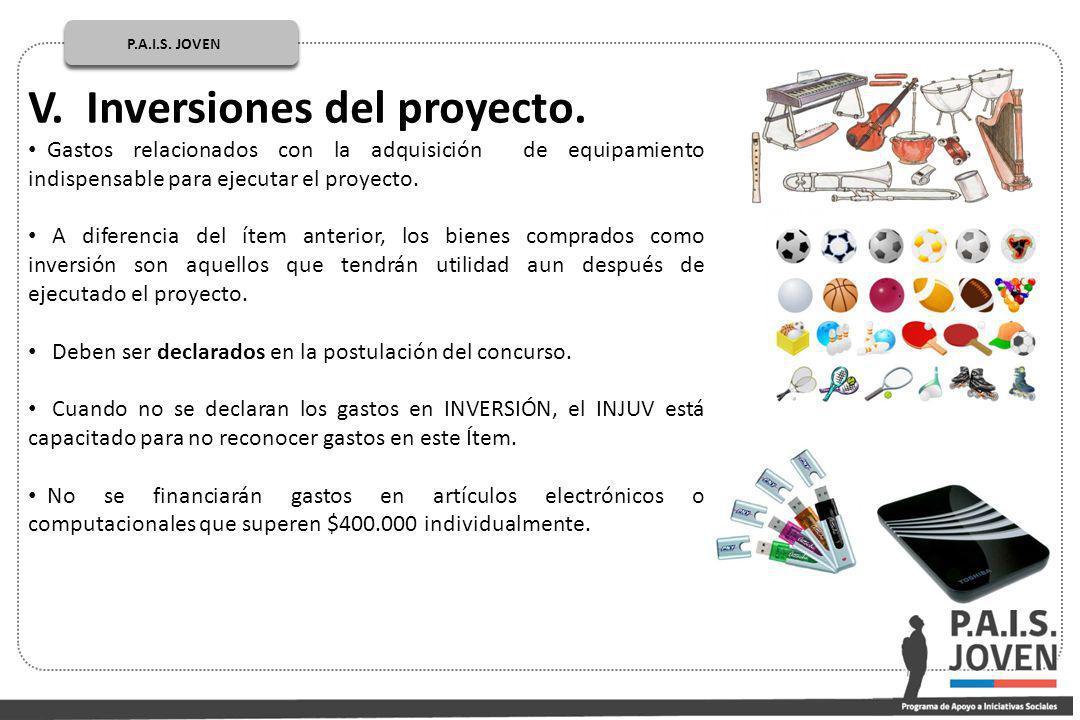 P.A.I.S.JOVEN PÚBLICOP.A.I.S. JOVEN V. Inversiones del proyecto.