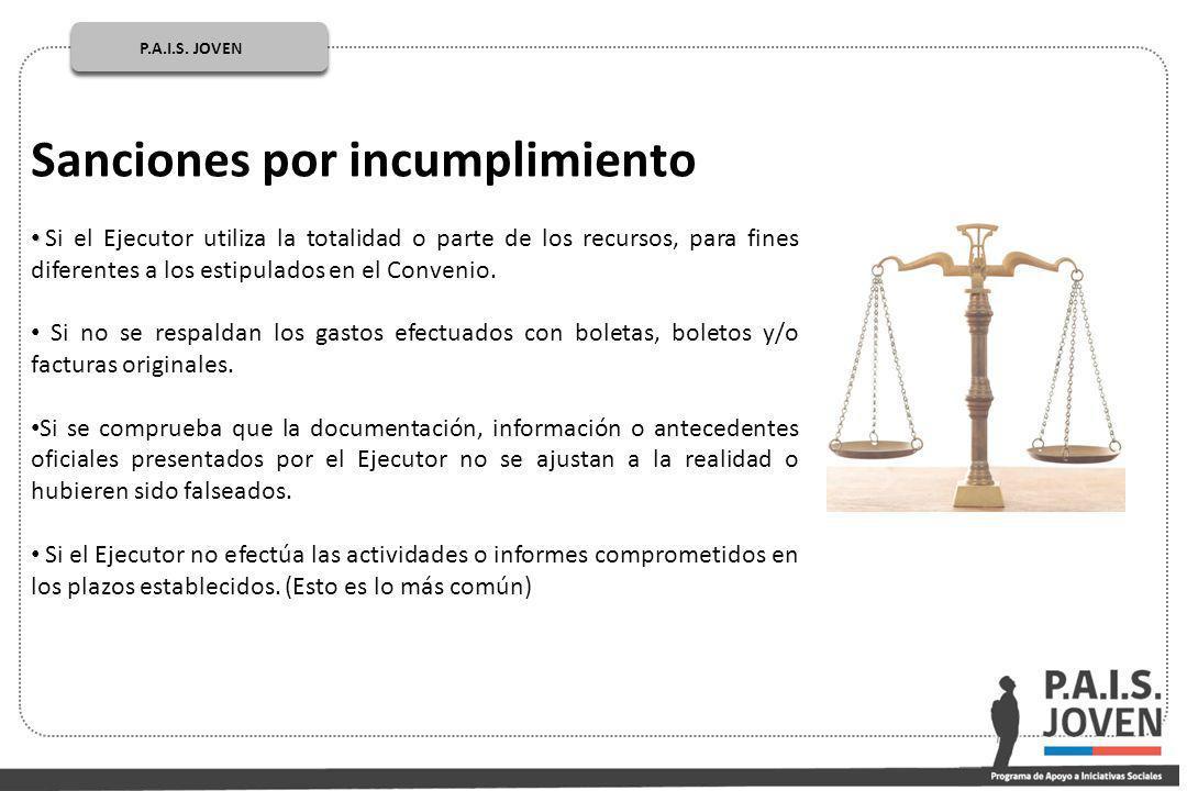 P.A.I.S. JOVEN PÚBLICOP.A.I.S. JOVEN Sanciones por incumplimiento Si el Ejecutor utiliza la totalidad o parte de los recursos, para fines diferentes a