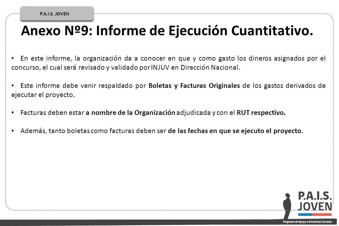 En este informe, la organización da a conocer en que y como gasto los dineros asignados por el concurso, el cual será revisado y validado por INJUV en Dirección Nacional.