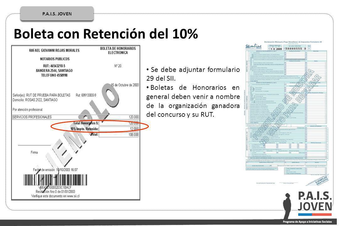 Boleta con Retención del 10% P.A.I.S.JOVEN PÚBLICOP.A.I.S.