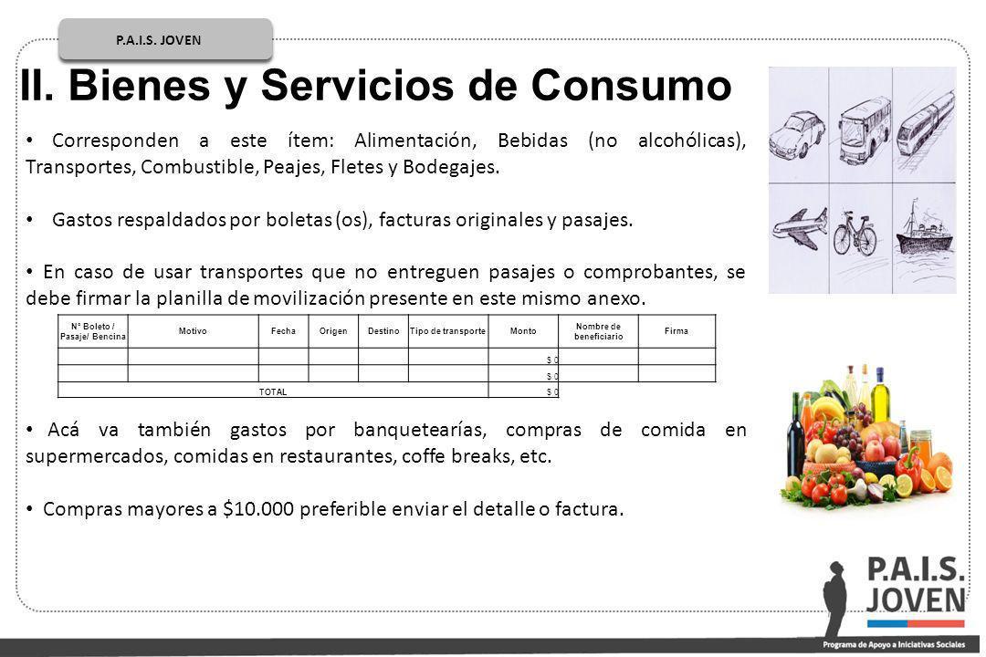 P.A.I.S. JOVEN PÚBLICOP.A.I.S. JOVEN II. Bienes y Servicios de Consumo Corresponden a este ítem: Alimentación, Bebidas (no alcohólicas), Transportes,