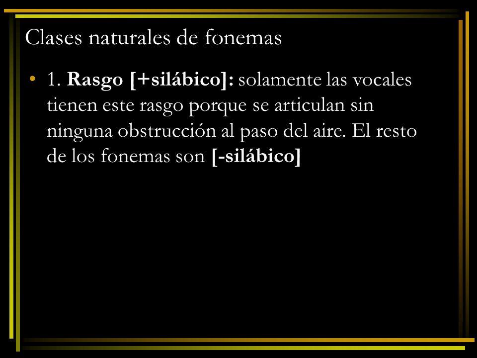 Clases naturales de fonemas 1. Rasgo [+silábico]: solamente las vocales tienen este rasgo porque se articulan sin ninguna obstrucción al paso del aire