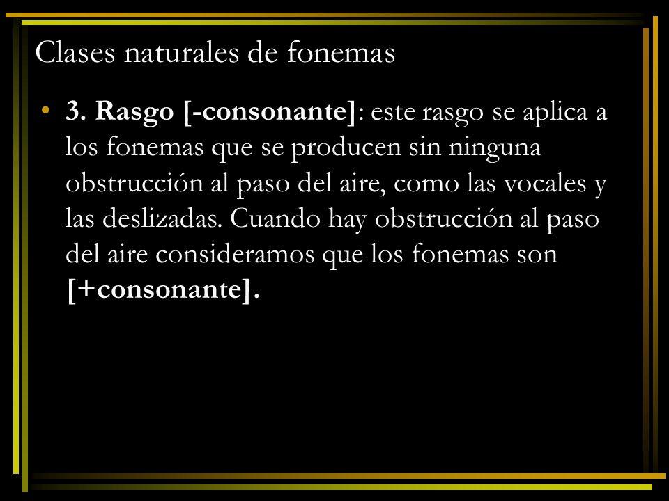 Clases naturales de fonemas 3. Rasgo [-consonante]: este rasgo se aplica a los fonemas que se producen sin ninguna obstrucción al paso del aire, como