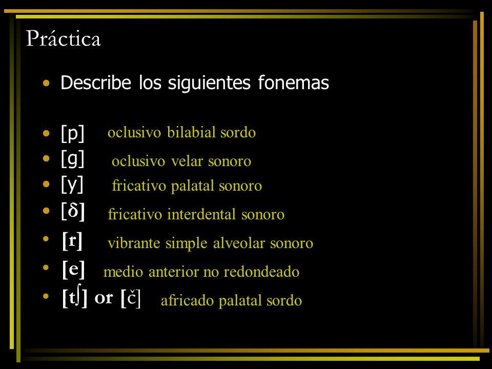 Práctica Describe los siguientes fonemas [p] [g] [y] [ δ] [r] [e] [t] or [č] oclusivo bilabial sordo oclusivo velar sonoro fricativo palatal sonoro fr