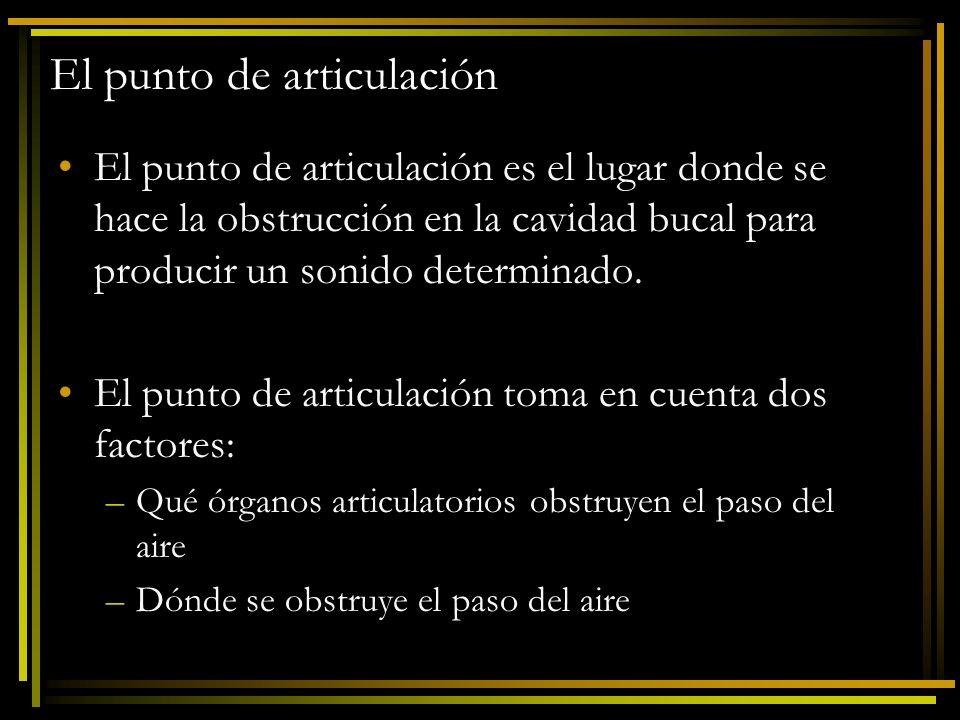 El punto de articulación El punto de articulación es el lugar donde se hace la obstrucción en la cavidad bucal para producir un sonido determinado. El