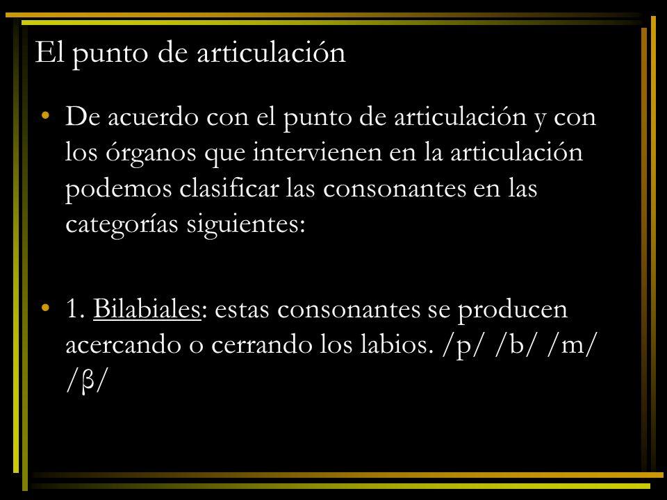 Práctica Identifica el símbolo y el punto de articulación de las consonantes en las palabras siguientes: Copa: Bata: Loba: Moño: Dedo: Gorro: Faja: [k] velar, [p] bilabial [b] bilabial, [t] dental [l] alveolar, [ß] bilabial [m] bilabial, [ñ] palatal [d] dental, [δ] interdental [g] velar, [ř] alveolar [f] labiodental, [x] velar