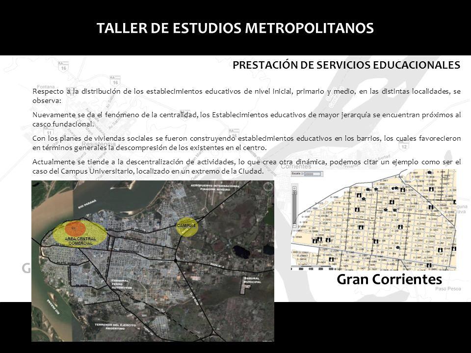 Gran Corrientes TALLER DE ESTUDIOS METROPOLITANOS Respecto a la distribución de los establecimientos educativos de nivel inicial, primario y medio, en