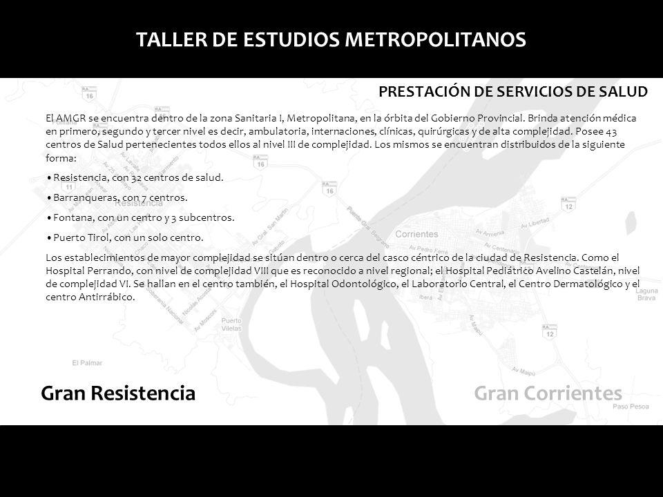 Gran ResistenciaGran Corrientes TALLER DE ESTUDIOS METROPOLITANOS PRESTACIÓN DE SERVICIOS DE SALUD El AMGR se encuentra dentro de la zona Sanitaria I,