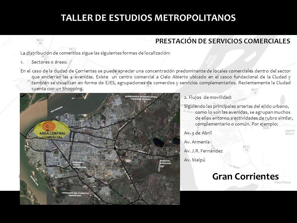 Gran ResistenciaGran Corrientes TALLER DE ESTUDIOS METROPOLITANOS PRESTACIÓN DE SERVICIOS COMERCIALES La distribución de comercios sigue las siguiente